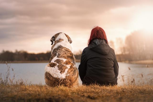žena se psem u vody