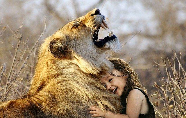 dívka s lvicí
